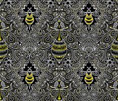 Chalkboard filigree bee fabric by beesocks on Spoonflower