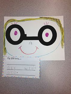 100 day activity.  Give each child a di-cut out of a 1 and two 0's (Making the number 100).  They had to use the 1 and the two 0's to make some kind of picture and then write about what they made.