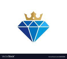 Crown diamond logo icon design vector image on VectorStock