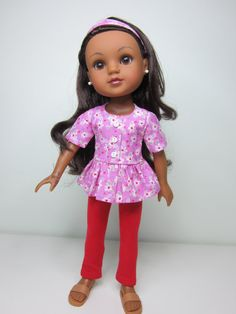 Hearts 4 Hearts  doll clothes - pretty  print peplum top &  red leggings by JazzyDollDuds