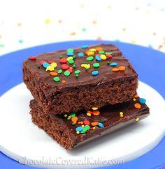 Healthy brownies that taste like Little Debbie chocolate fudge bars: http://chocolatecoveredkatie.com/