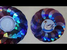 Porta Retrato de parede feito com CD ou DVD usado - YouTube Crafts With Cds, Old Cd Crafts, Diy And Crafts, Plastic Bottle Crafts, Plastic Bottles, Recycled Cds, Wind Spinners, Flower Tutorial, Reuse