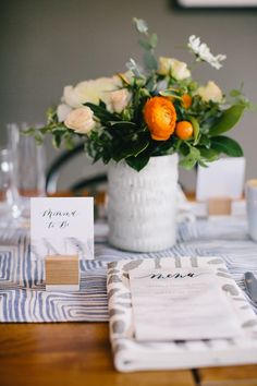 La Tavola Fine Linen Rental: Brush Squares Blue Table Runner with Mabel Grey Napkins | Photography: Gagewood, Venue: The Depot Craft Brewery, Event Planning & Design: Elise Events, Florals: B&B Designs, Calligraphy & Signage: Vita Popov Studio, Placecard and Table Number Holders: Esselle SF