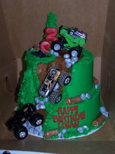 """Cake idea for Joe's """"over the hill"""" bday...but with a Jeep."""