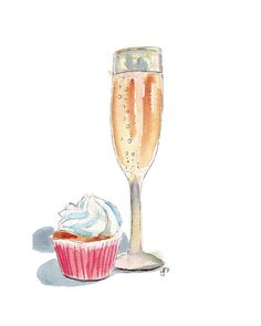 Watercolor Painting - Champagne and Cupcake Watercolor Art Print, 5x7