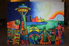 Seattle Skyline Abstract Painting. one day I'm gonna order my own custom piece!