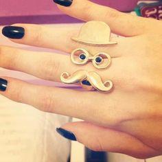 mustache glasses hat ring