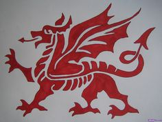 """So I've finally chosen what tattoo I want! It's going to be the Welsh Dragon (in red obviously) with """"Mae Hen Wlad Fy Nhadau"""" (The Land of My Fathers). It's the Welsh national anthem, and my dads from Wales so it's being patriotic and honors my father. Welsh Dragon, Celtic Dragon, Celtic Art, Red Dragon, Dragon Art, Dragon Shield, Dragon Dance, Dragon Crafts, Welsh Symbols"""