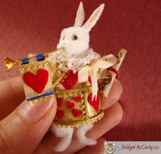 Here is a beautiful miniature rabbit by Bridget McCarty. A one of a kind figure and dressed by Bridget. Enjoy! Bridgetmccarty.com