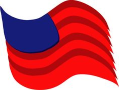 For this flag, I used a few simple shapes, adding a 3D effect to the red curve and multiplying them to create the stripes. The blue area is made from a curved box, also with a 3D extrude effect applied.