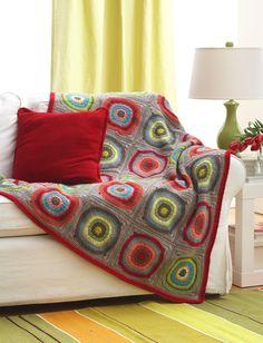 Yarnspirations.com - Bernat Circles in Squares Blanket - Patterns | Yarnspirations