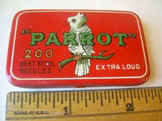 VINTAGE PARROT NEEDLE TIN LITHO BOX EDISON PHONOGRAPH GRAMOPHONE