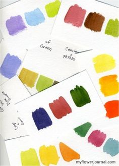 My color swatches in watercolor with color recipes on back-myflowerjournal.com