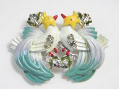 Large Vintage Coro Facing Birds Brooch 40s