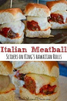 Easy Italian Meatball Sliders are the perfect make-ahead party food appetizer. Made with ground beef, marinara, and mozzarella, served on King's Hawaiian Sweet Rolls. #meatballsliders #easyappetizer Make Ahead Appetizers, Appetizers For Party, Appetizer Recipes, Italian Food Appetizers, Italian Party Foods, Italian Finger Foods, Warm Appetizers, Picnic Recipes, Christmas Appetizers