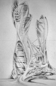 Skyscraper concept by Mihaio on DeviantArt Parametric Architecture, Green Architecture, Organic Architecture, Futuristic Architecture, Landscape Architecture, Architecture Design, Parametric Design, Classical Architecture, Architecture Concept Drawings