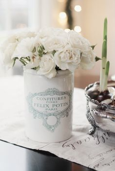 Bro ante style flower arrangement - great for shabby chic cottage interior