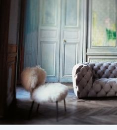 inviting chair-mongolian lamb fur