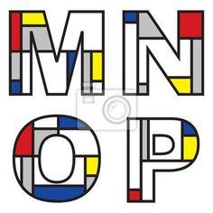 Sticker Mondriaan alfabetten - onderdeel van een volledige set