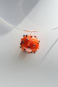 Orange and Purple polka dot glass round focal bead by kimjustice, $20.00