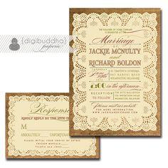 Lace Burlap Wedding Invitation & Response Card 2 Piece Wedding Suite RSVP Rustic Shabby Chic DIY Digital or Printed - Jackie Style. $40.00, via Etsy. [HOLE PUNCH CARD EDGES MARTHA STEWART]