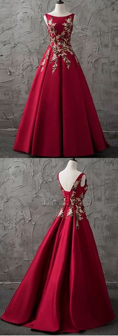 A-line Bateau Floor-length Sleeveless Satin Prom Dress/Evening Dress # VB871 #satin #red #fashion #long #prom #popular #A-line #evening #Appliques