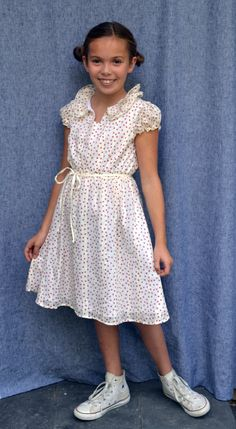A perfect 5th grade graduation dress--Cecelia in Ivory & Plum Confetti Dots, Chuck Taylors too!