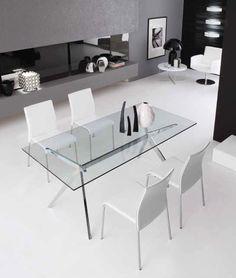 Nowoczesny włoski szklany stół na stalowej chromowanej podstawie doskonały do każdego nowoczesnego wnętrza także jako biurko