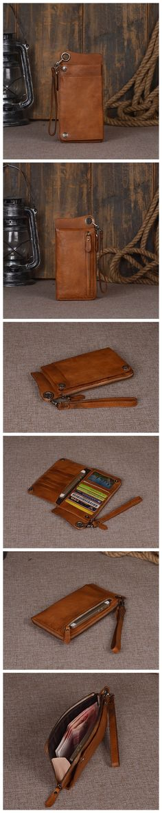 Women's Long Leather Wallet Button Clutch Purse Card Holder Case Leather Gifts For Men & Women