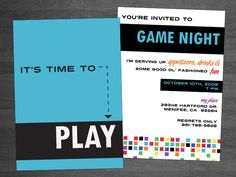 Game night invitation from tiny prints lets start planning a game night invitation option 2 like colors stopboris Images
