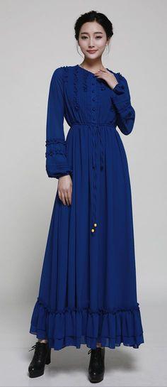 5be115a0be0f Elegant Ruffle Pleated Lacing Full-sleeve Floor-length Chiffon Maxi Dress