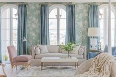 master_sitting_gracie-wallpaper-wall-coverings-blue-chinoiserie-silk-curtains - The Glam Pad Gracie Wallpaper, Wallpaper Wall, Neutral Wallpaper, Classic Wallpaper, White Wallpaper, Trendy Wallpaper, Trendy Home Decor, Home Decor Trends, Alice Lane Home