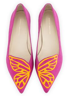 Sofia Webster Papillon Embroidered Suede Flat, Neon Plum
