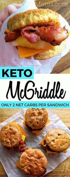 Pancakes, syrup, bacon, eggs and cheese come together in perfect harmony in this recipe for homemade McGriddle Sandwiches. This low carb twist on the quintessential fast food breakfast sandwich is…More 25 Awesome Keto Diet Friendly Egg Dish Recipes Keto Fat, Low Carb Diet, Keto Desserts, Keto Snacks, Keto Foods, Fast Foods, Clean Foods, Protein Foods, Low Carb Recipes