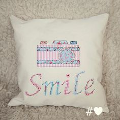 Smile Applique Retro Camera Cushion Cover by hashtaglove1 on Etsy
