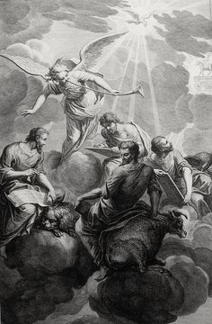 Phillip Medhurst presents Bowyer Bible Gospels print 3334 The four Evangelists Houbratie on Flickr. A print from the Bowyer Bible, a grangerised copy of Macklin's Bible in Bolton Museum and Archives, England.