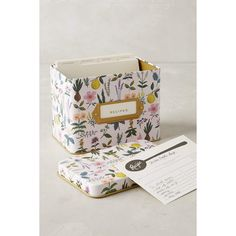 Rifle Paper Co. Spring Garden Recipe Tin (150 RON) ❤ liked on Polyvore featuring home, kitchen & dining, cookbooks, lilac and rifle paper co recipe box