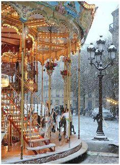 """this is a PHOTO ( place de l'Hotel de ville Paris ), Not """"Paris"""" -- Claude Monet. Have just seen the Monet exhibition in Melbourne - beautiful. Places To Travel, Places To See, Travel Destinations, Winter Szenen, Paris Winter, Paris Snow, Winter Time, Winter Magic, France Winter"""