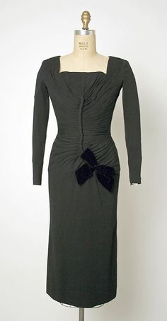 Dress, Afternoon  Jacques Fath  (French, 1912–1954)  Design House: House of Jacques Fath (French, founded 1937) Date: 1950–54 Culture: French Medium: wool, silk Dimensions: Length at CB: 43 1/2 in. (110.5 cm)