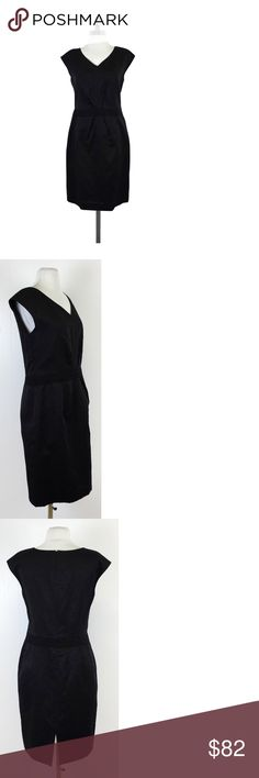 """Brooks Brothers- Black Metallic Dress Sz 8 Black cap sleeve dress with metallic sheen perfect for those winter formals. Waistband with pinch details make for a slimming silhouette. Pair with a printed coat for a warm winter look. Size 8 Shell 34% cotton 29% linen 27% polyamide 10% viscose Lining 100% Bemberg cupro V-neck Concealed back zip & hook Back slit 6"""" Shoulder to hem 37"""" Brooks Brothers is a longtime label known for its classic shirts, suits, sportswear & accessories for men, women…"""
