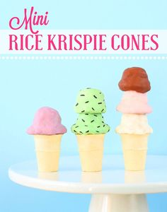 Make mini rice krispy cones for your dessert table, party favors or even turn them into fun jumbo cupcake toppers!   www.bakerspartyshop.com