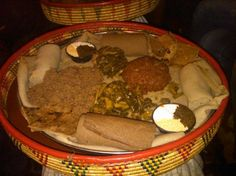 Traditional Ethiopian food. Injera, wot, and more!!