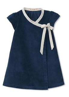 sweet and simple- navy Corduroy wrap dress with contrast trim/bow [Je Suis en CP! Little Girl Outfits, Little Girl Fashion, Little Girl Dresses, Kids Fashion, Cute Outfits, Baby Girl Dresses, Baby Dress, Cute Dresses, Wrap Dresses