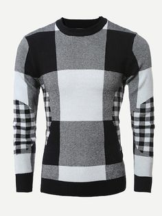 Men Contrast Plaid Jumper