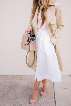 White skirt + trench