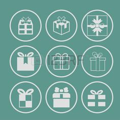 Illustration of Gift box icons on white background Vector illustration vector art, clipart and stock vectors. Box Icon, Icon Set, Gift Logo, Butterfly Logo, Game Ui, Bujo, Vector Art, Clip Art, Stock Photos