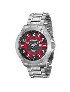 5e07e091e4bee Relógio Seculus Caixa e Pulseira de Aço Prata