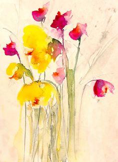 """Karin Johannesson; Watercolor, 2013, Painting """"Fallen flowers II"""""""