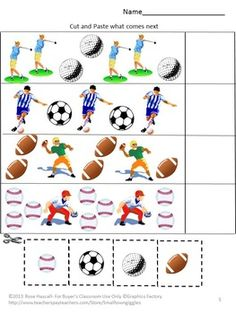 What's Your Favorite Sport Cut and Paste Worksheet Set, students will practice visual discrimination, match pictures, match shapes, sort by size, complete patterns, count and read number words, add and subtract. Students will love these Cut and Paste worksheets as.