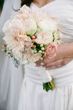 Blush Bouquet. Chrysanthemums, Garden roses, hypericum, dusty miller and one other. Sweet.